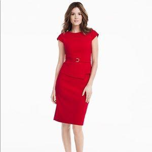 WHBM Red Peplum Cap Sleeve Sheath Dress